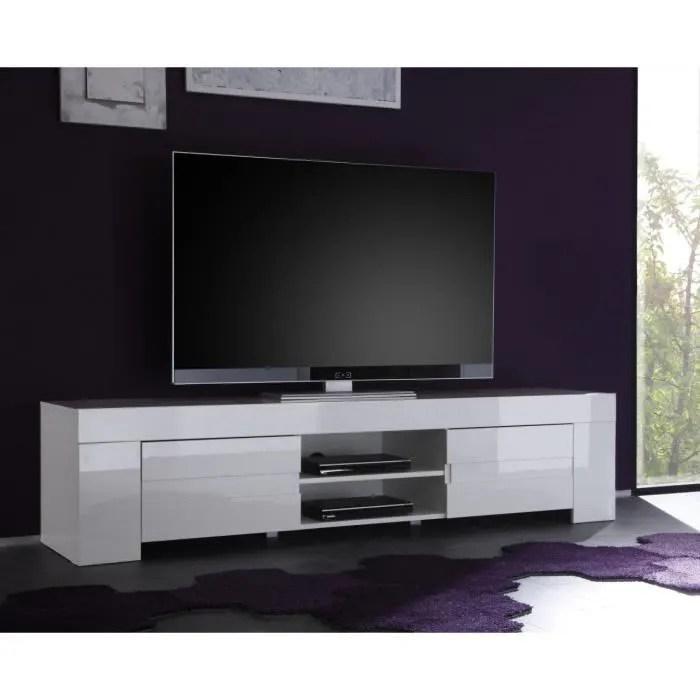 meuble tv hifi blanc laque design eleonore l 191 c