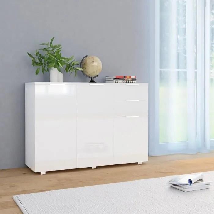 fihero buffet blanc brillant 107 x 35 x 76 cm