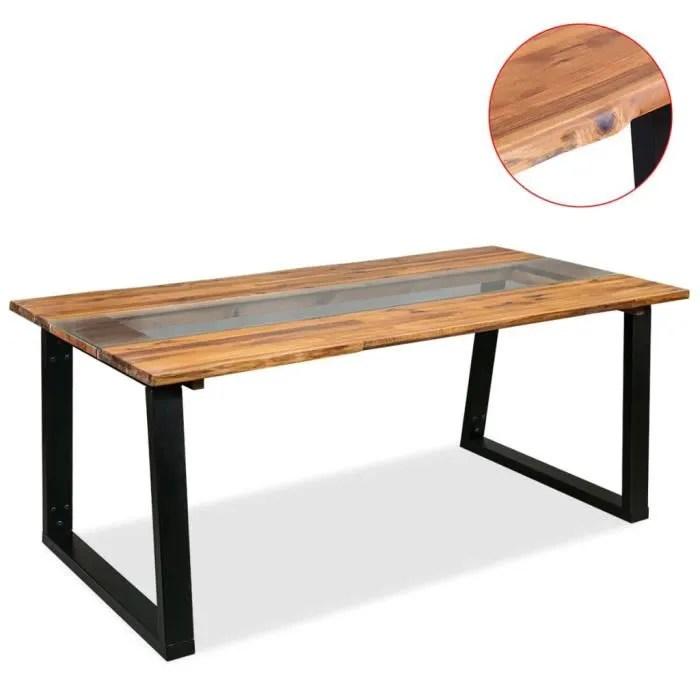 manger bois d acacia et verre 180 x
