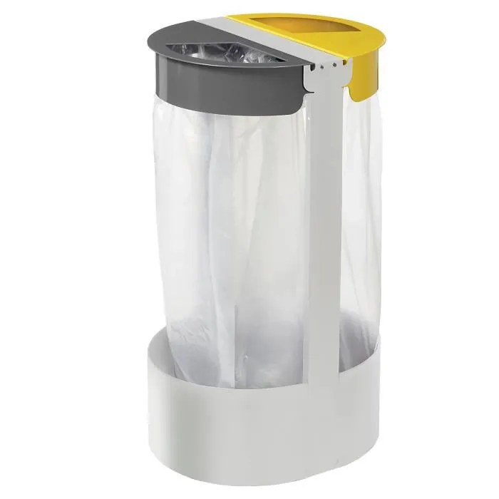 support sac poubelle sur pied 2 flux 2 x 75l gris ciment citwin essentiel