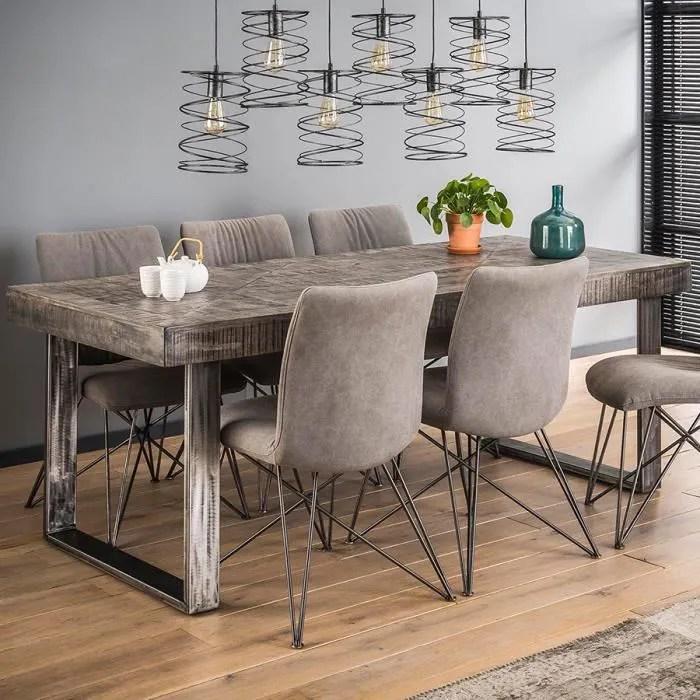table a manger en bois massif gris et