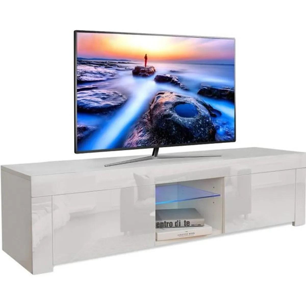 meuble tv blanc laquee
