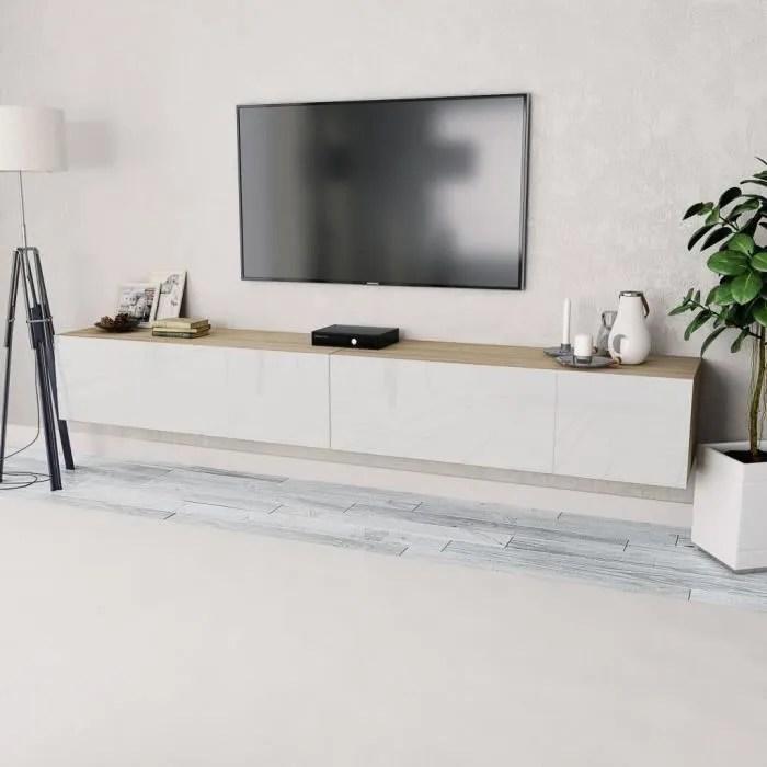 2 pcs meuble tv suspendu en agglomere avec rangeme