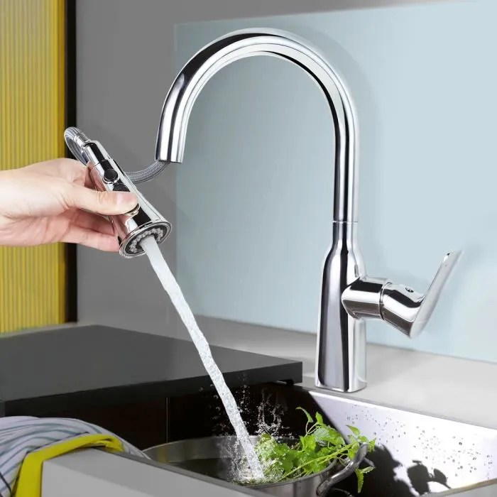 wowow robinet de cuisine avec douchette extractible mitigeur evier rotatif a 360 mitigeur cuisine avec 2 jets et bouton d arret