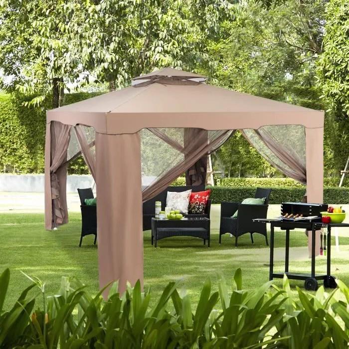 pavillon tonnelle de jardin de 3 x 3 m