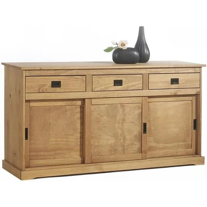 buffet savona bahut vaisselier commode avec 3 tiroirs et 3 portes coulissantes en pin massif lasure brun