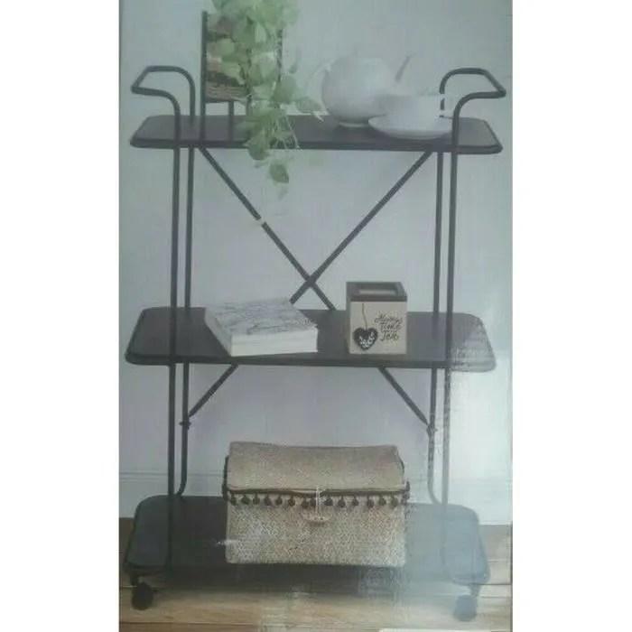 Details Sur Trolley Etagere Plante Salon Servante Roulette Meuble Bois Fer Forge Roue 396 Cdiscount Maison