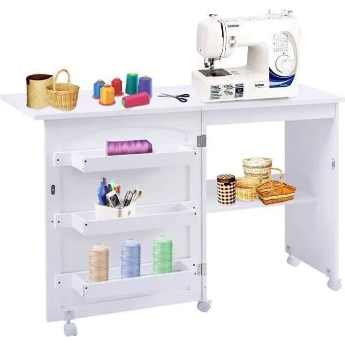 costway meuble pour machine a coudre table de couture pliante avec 3 etageres pour bobines et roulettes verrouillables en bois blanc
