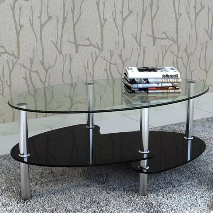 table basse ronde verre 3 couches noir