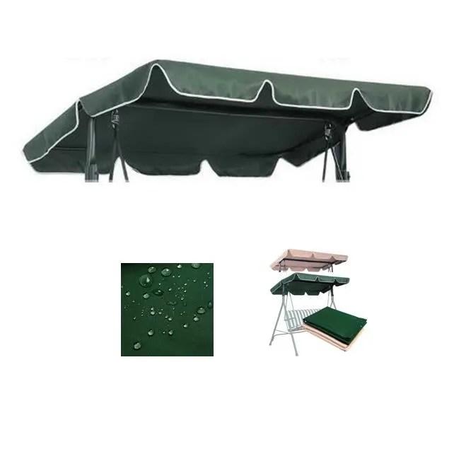 toit de rechange pour balancoire balancelle de jardin impermeable 168x115cm vert