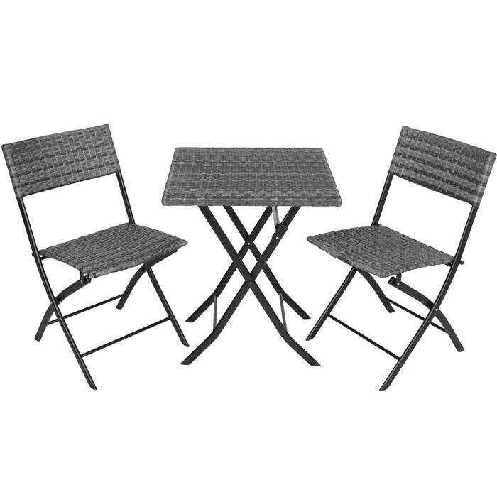 tectake salon de jardin trevi resine tressee 2 personnes 2 chaises et 1 table pliantes gris