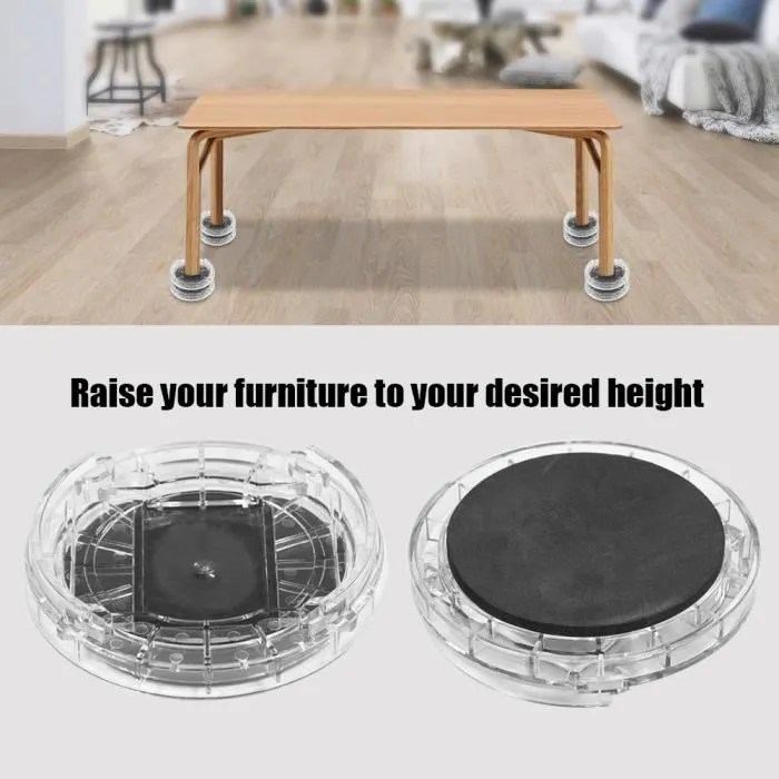 8pcs set pieds augmentation en hauteur pour table chaise meuble de jambe de rehausseurs anti derapant transparent