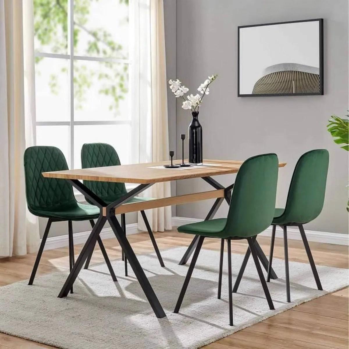 4 chaises design en tissu vert livio