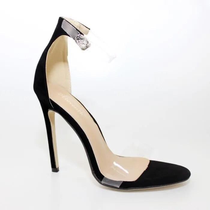 sandales a talons hauts chaussures femme temperament sandales en film transparent pvc grande taille 43 noir