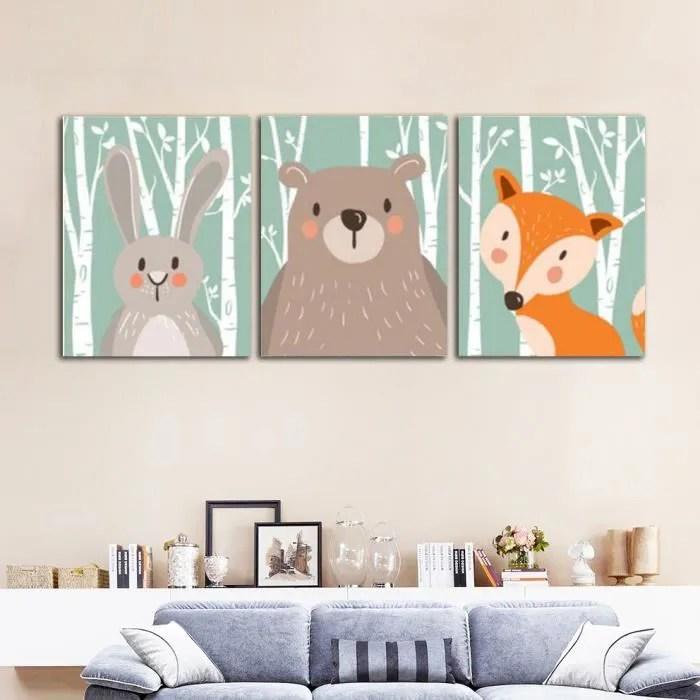 sans cadre nordique animal peinture mignon dessin anime impressions sur toile pour enfants chambre mur photo 30x40cmx3 no frame