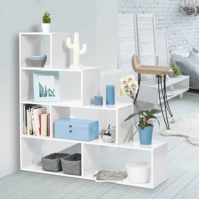 bibliotheque escalier lina bois blanc