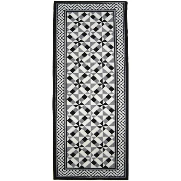 utopia tapis de couloir carreaux de ciment noir gris et blanc