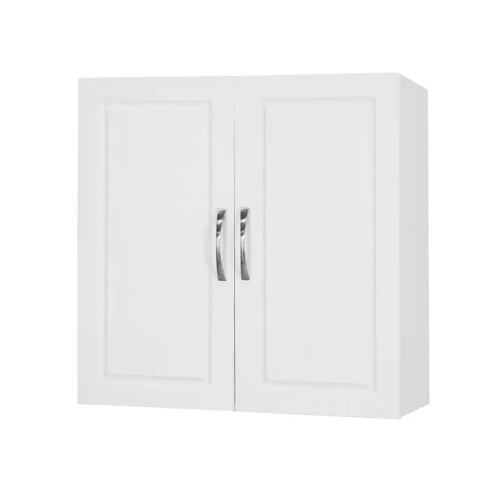 sobuy meuble haut armoire de toilettes frg231 w salle de bain suspendue placard commode murale 2 portes blanc