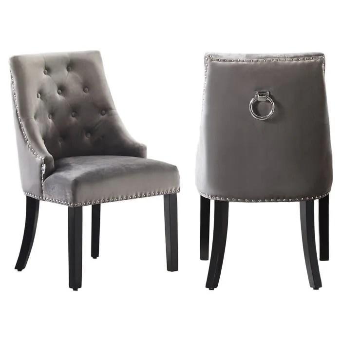 chaises capitonnees en velours beige