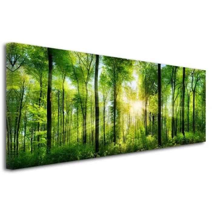 decoration chambre tableau tableau deco tableau design tableau mural tableau deco photo foret verte 150x60 cm