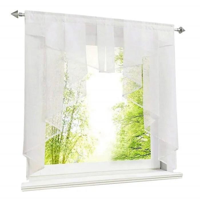 1pc petit store voilage lxh 80x80cm blanc rideau d