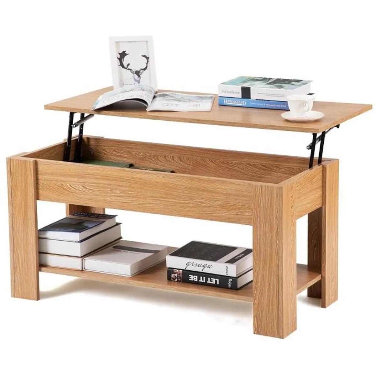table basse plateau relevable avec