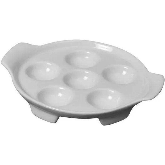 assiette a escargots de 6 trous blanc