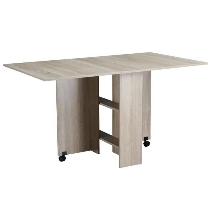 table pliante de cuisine salle a manger amovible sur roulettes 140l x 80l x 74h cm 2 etageres integrees panneaux particules coloris