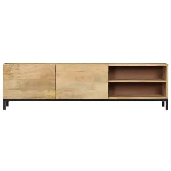 meuble bas tv salon sejour banc television table de salon 145 x 30 x 41 cm bois massif de manguier