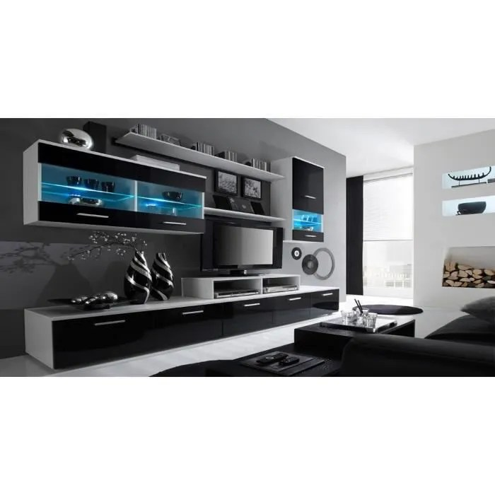 ensemble de meubles ensemble de sejour avec leds contemporain blanc mate et noir laque dimensions 250x194x42 cm de profondeur