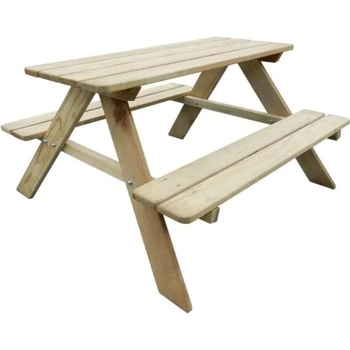 festnight table de pique nique en bois table de jardin avec bancs