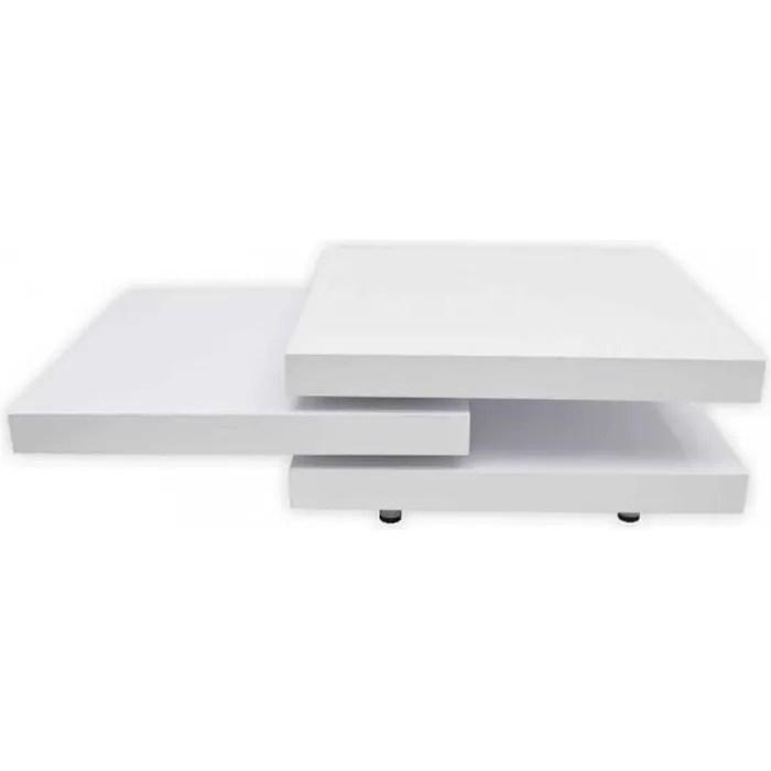 tables basses table basse blanc laque carree pivotante 3 plateaux