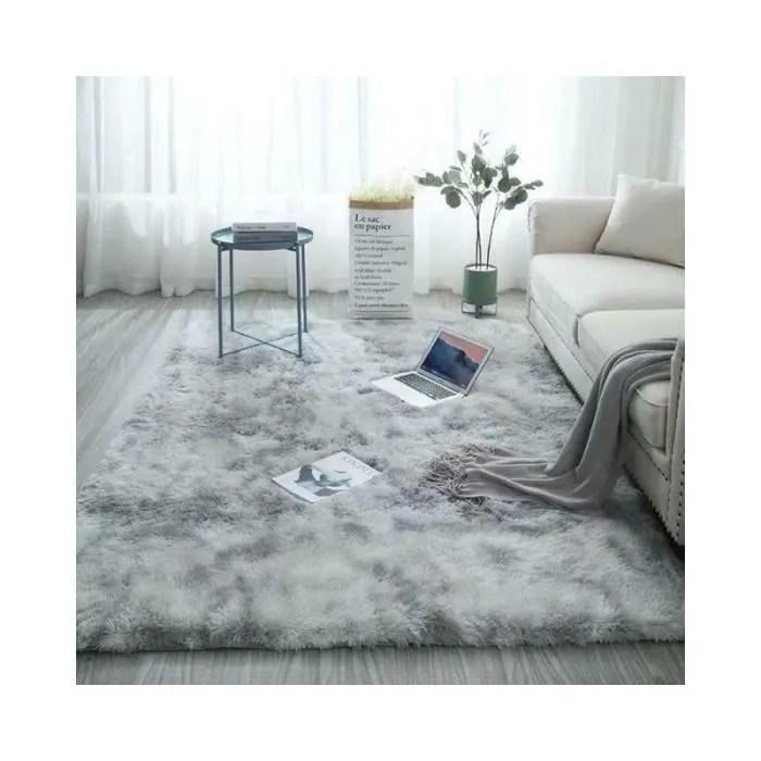 tapis de salon shaggy en peluche gris 120 x 160cm