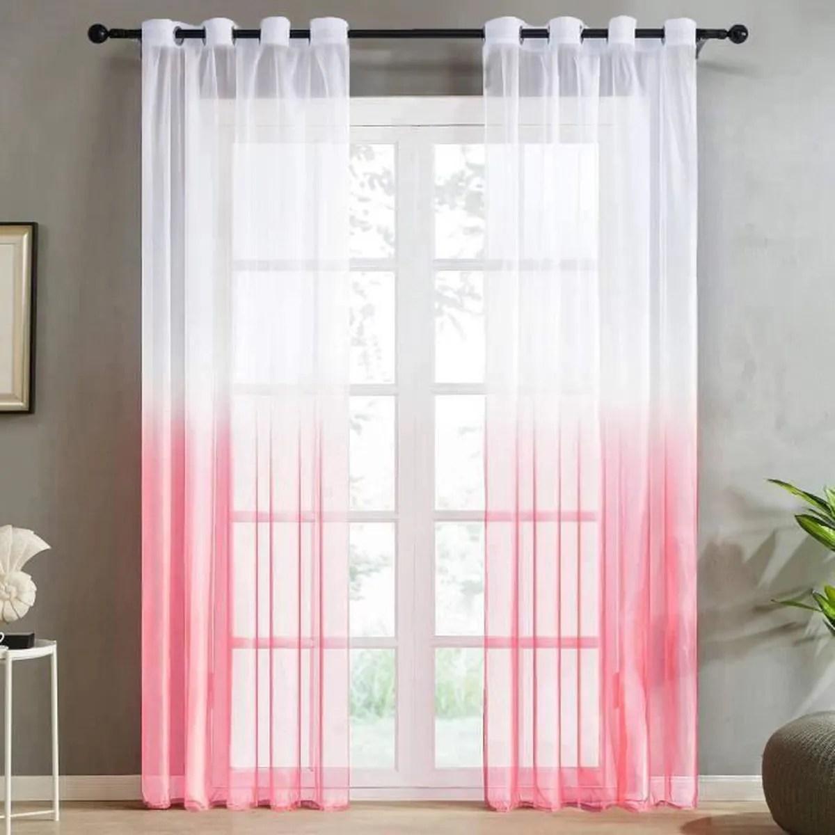 jupitte rideaux voilage blanc rouge voilage ombre degrade a oeillet 2 panneaux 140x240cm oeillet ramp achat vente voilage cdiscount