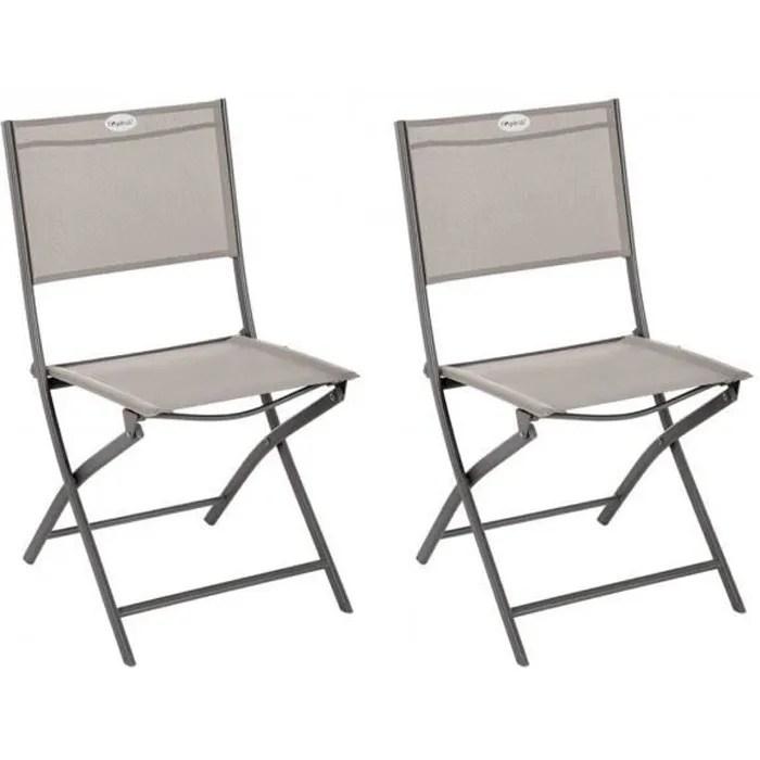 lot de 2 chaises de jardin pliante metal modula no