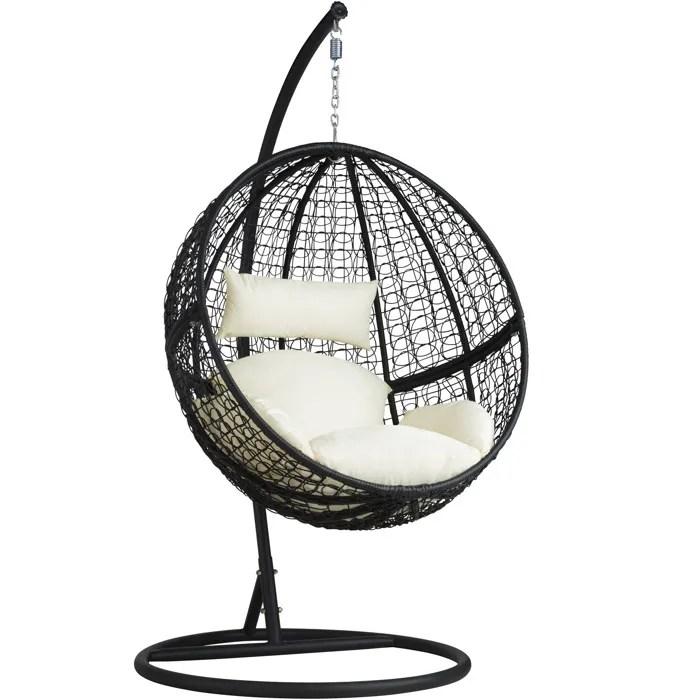 tectake balancelle de jardin sur pied hamac fauteuil suspendu en resine tressee structure acier noir coussins