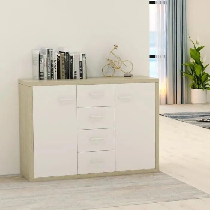 bel buffet blanc et chene sonoma 88x30x75 cm agglomere