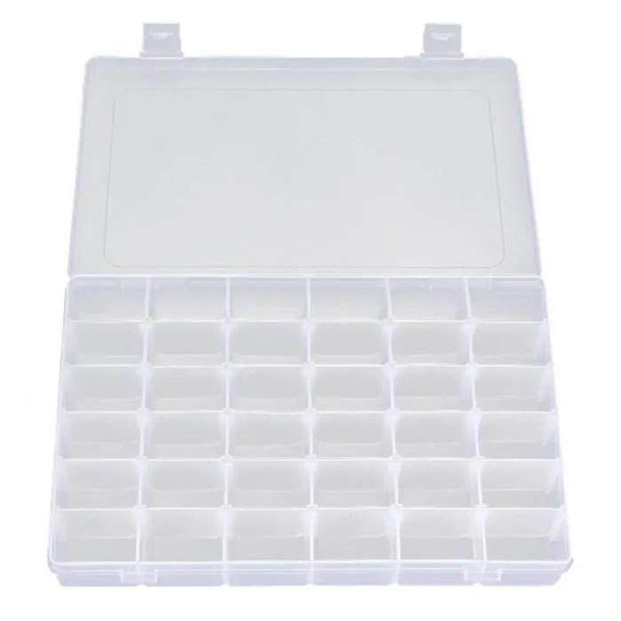 36 casier boite de rangement plastique transparent avec grilles amovibles pour bijoux