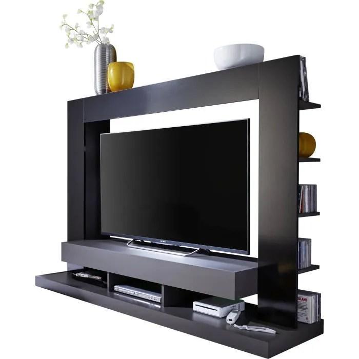ensemble meuble tv design gris et noir en panneaux de particules melamines l 170 x p 46 x h 124 cm collection motionless blanc