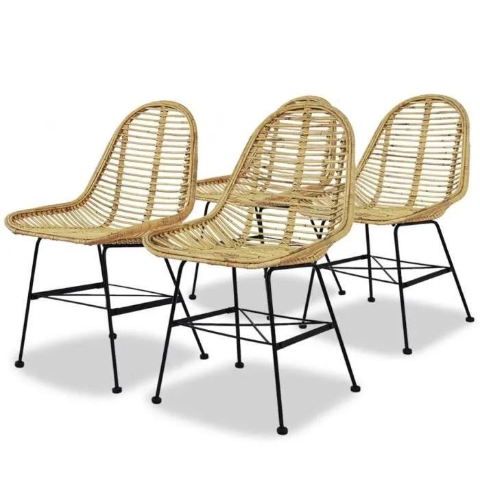 chaise de salle a manger 4 pcs rotin naturel achat vente chaise soldes sur cdiscount des le 20 janvier cdiscount