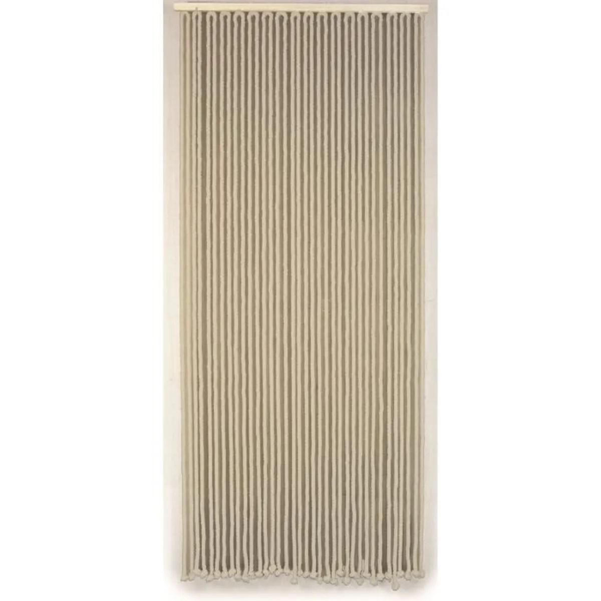 rideau de porte en corde de coton tressee ecru 90x200