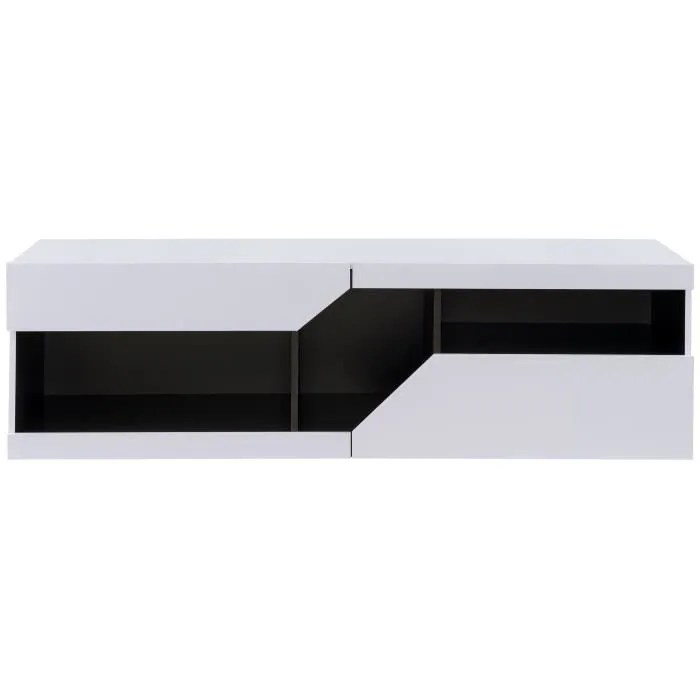 meuble tv contemporain blanc et noir brillant l