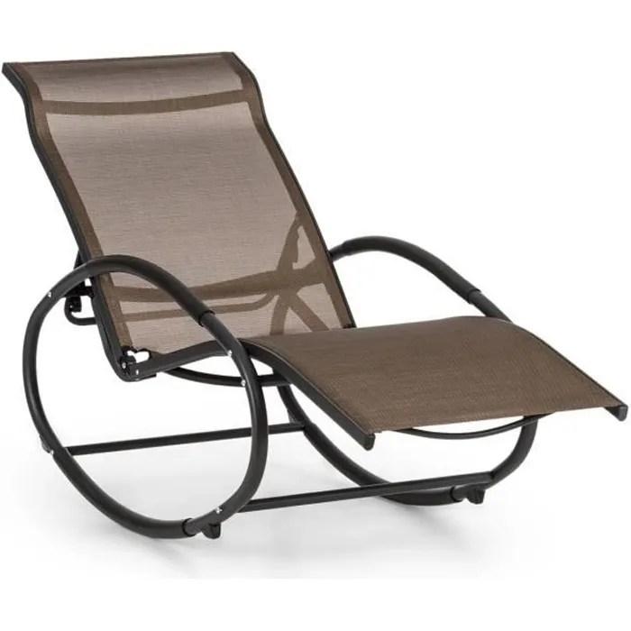 blumfeldt santorini fauteuil de jardin a bascule rocking chair dossier reglable en 3 positions aluminium polyester marron