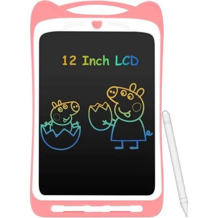 tablette d ecriture lcd enfant 12 ardoise magique colore planche a dessin avec stylet tablette graphique effacable bouton de