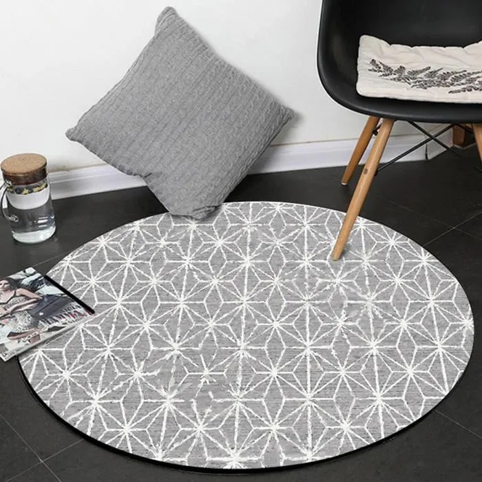tapis rond geometrique abstrait f140cm grand tapis