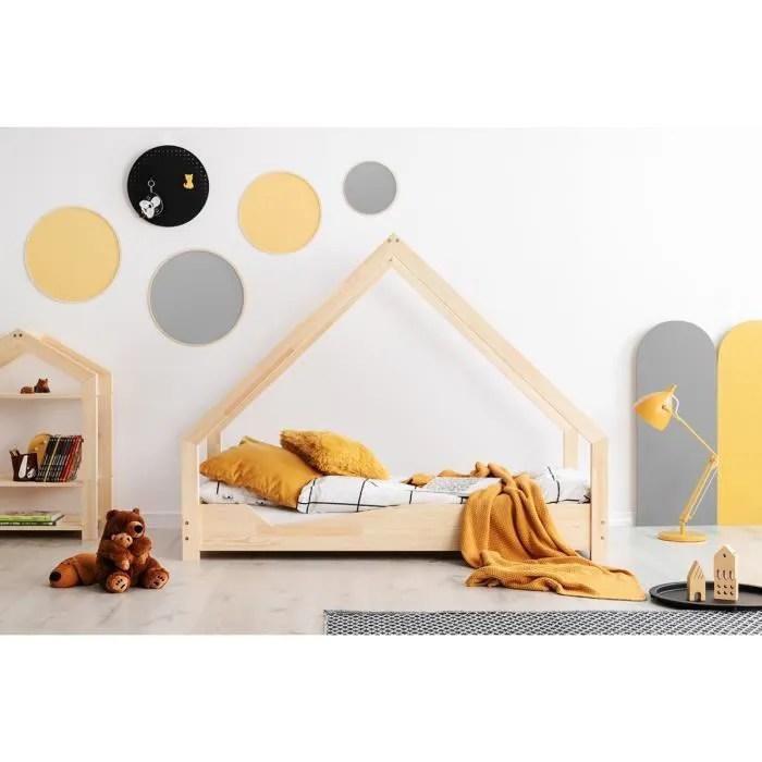 lit enfant 90 x 150 cm avec sommier type cabane en bois naturel modele ca