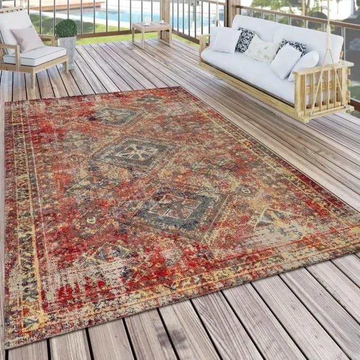 tapis exterieur terrasse rouge balcon oriental des
