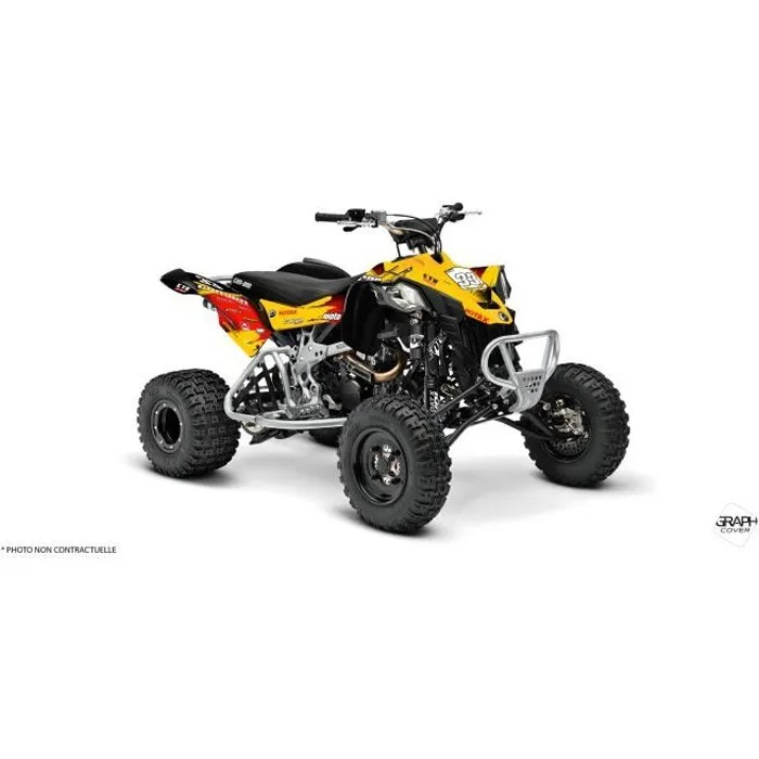 kit deco quad can am ds 450 elite jaune rouge