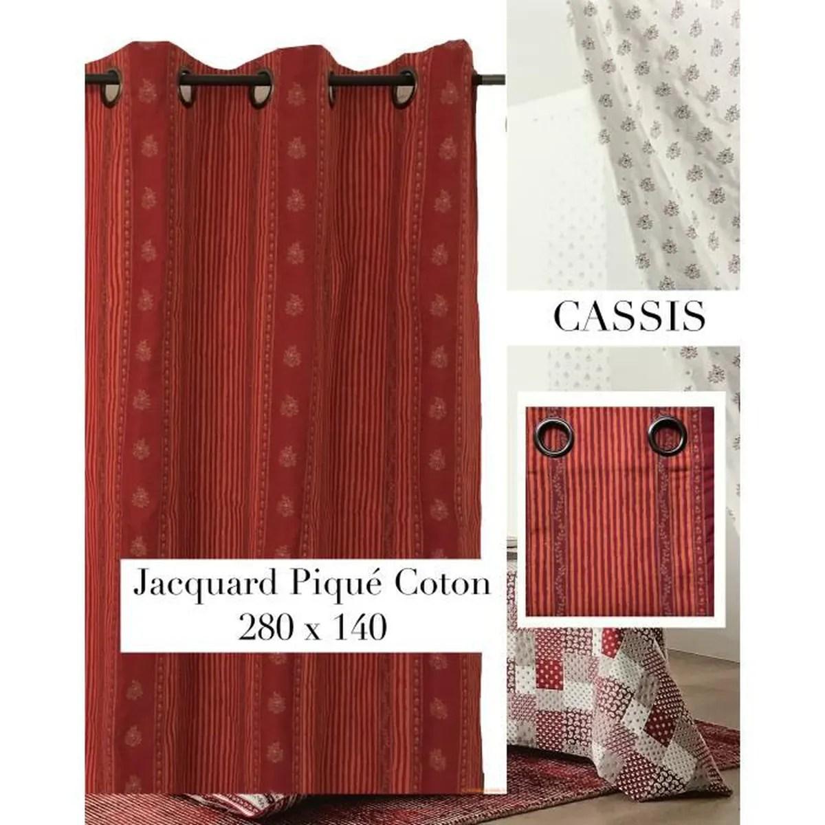 double rideau jacquard pique coton provencale style provence et montagne grande hauteur 140 x 280cm prix boutique 75e