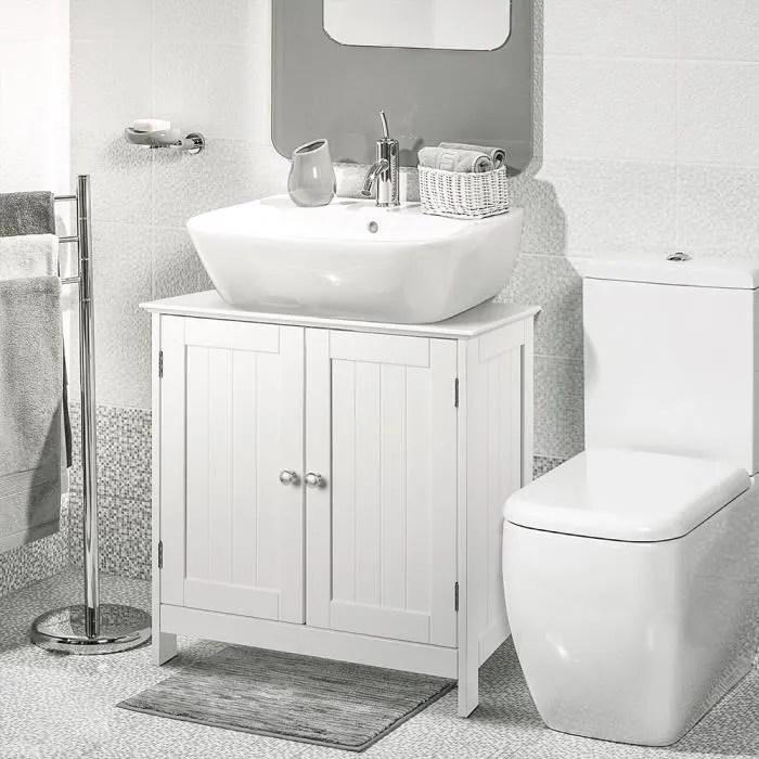 jeobest meuble de rangement salle de bains meuble sous vasque 2 volets 2 casiers anti humidite 60 x 30 x 60 cm blanc
